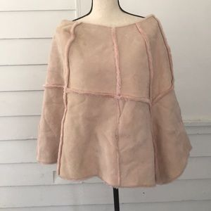 UGG Suede Poncho Pink Shawl Cape Soft S M New